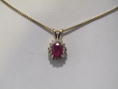 PRETTY & CLASSIC OVAL RUBY AND DIAMOND PENDANT