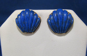 VINTAGE 14KT CARVED LAPIS SHELL EARRINGS...VERY BLUE!