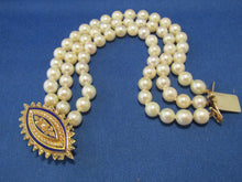Load image into Gallery viewer, ANTIQUE BLUE ENAMEL PEARL CLASP WITH TRIPLE STRAND PEARL BRACELET