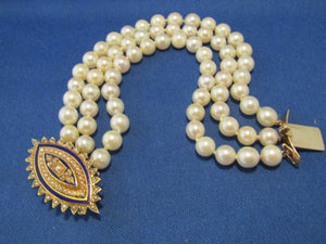 ANTIQUE BLUE ENAMEL PEARL CLASP WITH TRIPLE STRAND PEARL BRACELET