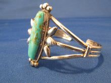 Load image into Gallery viewer, Sterling Silver Navajo Turquoise Bracelet....Long Oval Shape!