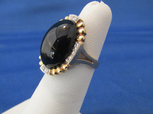 Vintage 14kt Yellow Gold Onyx Diamond Ring...Classic and Tastefull