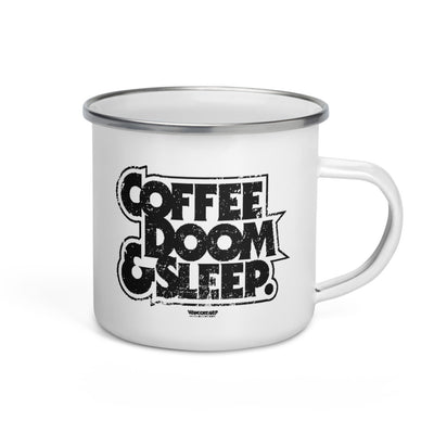 Coffee, Doom & Sleep Enamel Mug - mangobeard