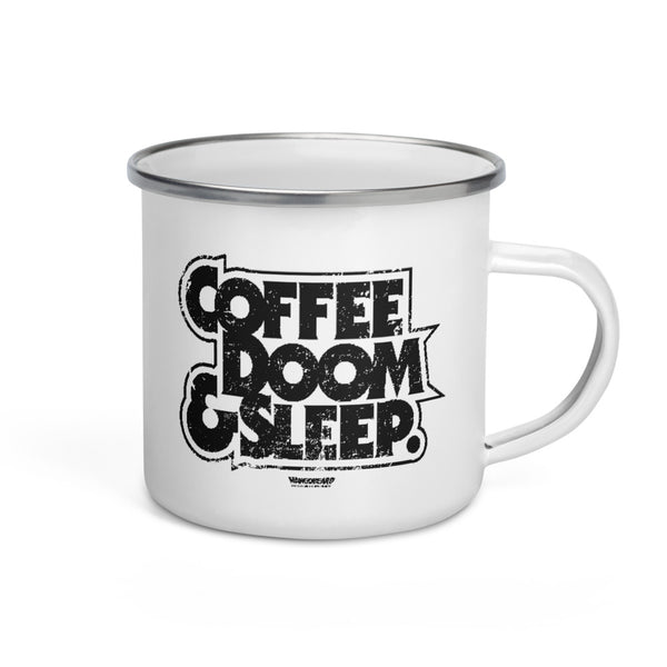 Coffe, Doom & Sleep Enamel Mug - mangobeard