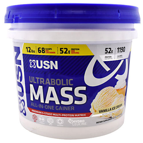USN, USN Ultrabolic Mass Vanilla Ice Cream 12 lbs (5.44 kg), 12 lbs (5.44 kg), Vanilla Ice Cream