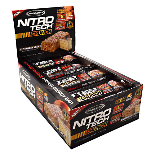 MuscleTech, MuscleTech Nitro-Tech Crunch Birthday Cake 12 - 2.29 oz Bars, 12 - 2.29 oz Bars, Birthday Cake