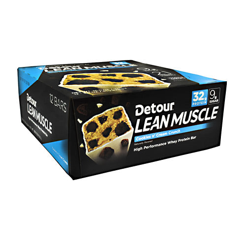 Detour, Detour Lean Muscle Bar Cookies n' Cream Crunch 12-3.0 oz. Bars, 12-3.0 oz. Bars, Cookies n' Cream Crunch