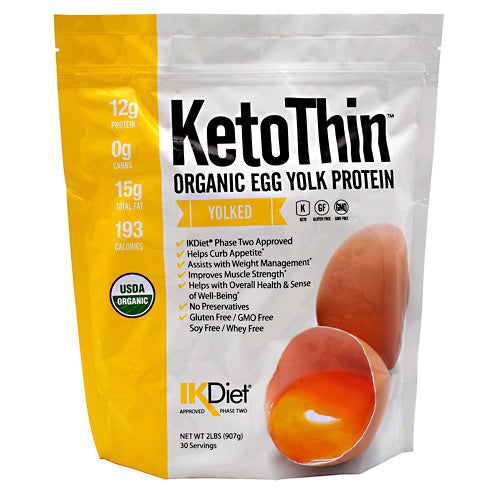 KetoThin, KetoThin Organic Egg Yolk Protein Yolked 30 Servings, 30 Servings, Yolked