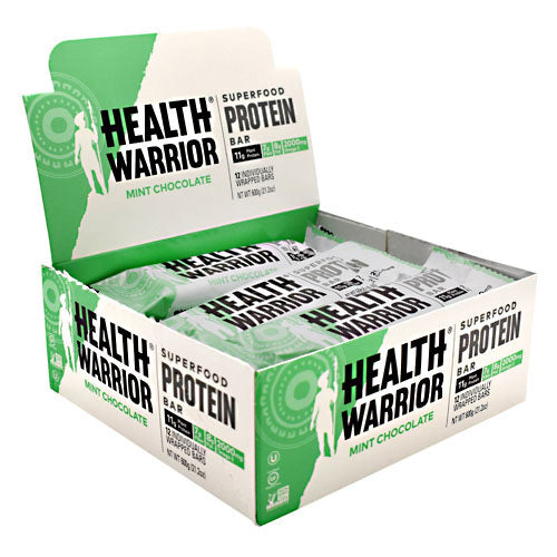 Health Warrior, Health Warrior Superfood Protein Bar Mint Chocolate 12 bars, 12 bars, Mint Chocolate