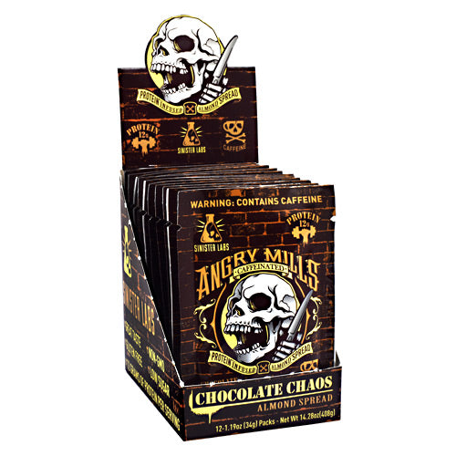 Sinister Labs, Sinister Labs Angry Mills Caffeinated Almond Spread Chocolate Chaos 12-1.19oz (34g) Packs, 12-1.19oz (34g) Packs, Chocolate Chaos