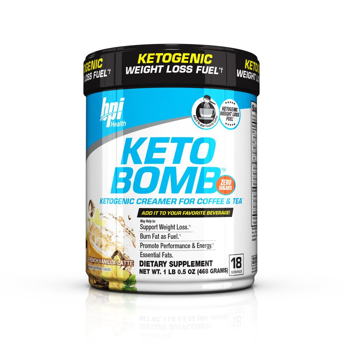 BPI, BPI Keto Bomb, First Ever Ketogenic Coffee Creamer, French Vanilla, 18 Servings, French Vanilla