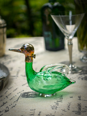 Art Nouveau Sterling Silver Glass Duck Decanter Weston Table