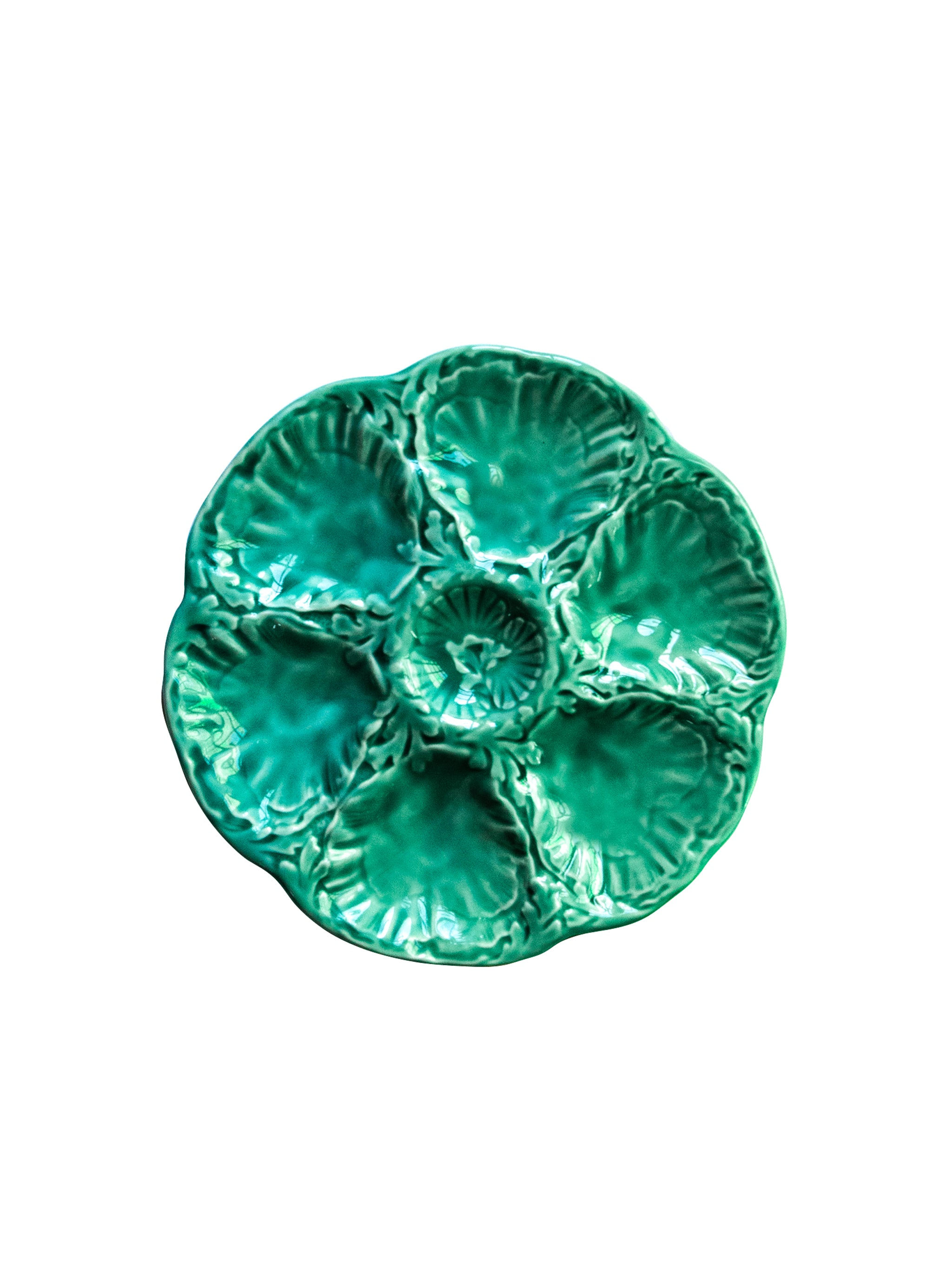VINTAGE TURQUOISE OYSTER PLATE GIAN FRANCE 6 WELLS MAJOLICA EX COND