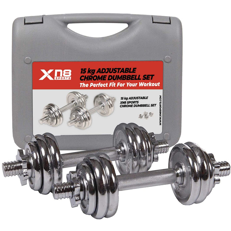 Xn8 Sports Adjustable Dumbbells Siliver