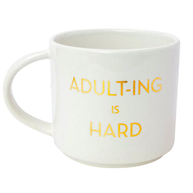 ADULTING IS HARD METALLIC GOLD MUG-Gifts-Cocoplum Boutique