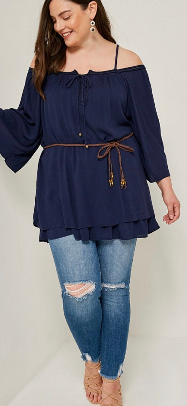 Cold-Shoulder Layered Tunic Top-Apparel-Cocoplum Boutique