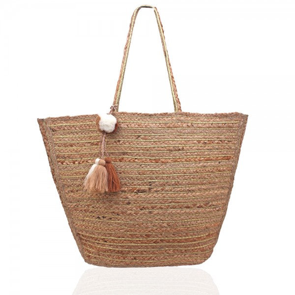 Handwoven Jute Tote Bag-Accessories-Cocoplum Boutique