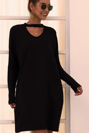 Black Knit Sweater Dress-Apparel-Cocoplum Boutique