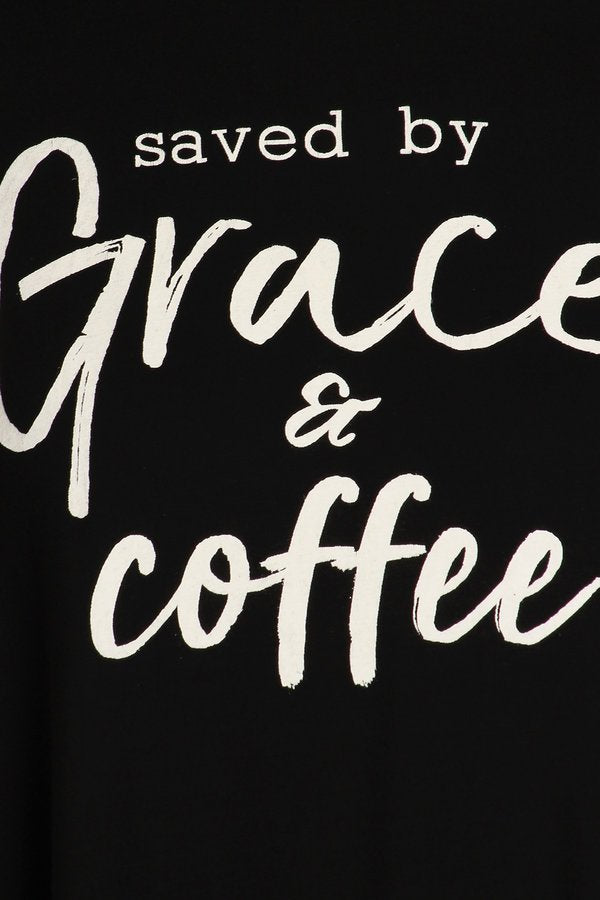 Saved By Grace and Coffee Graphic Tee-Apparel-Cocoplum Boutique