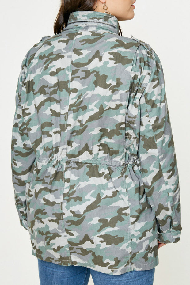 Drawstring Camo Cargo Jacket-Apparel-Cocoplum Boutique