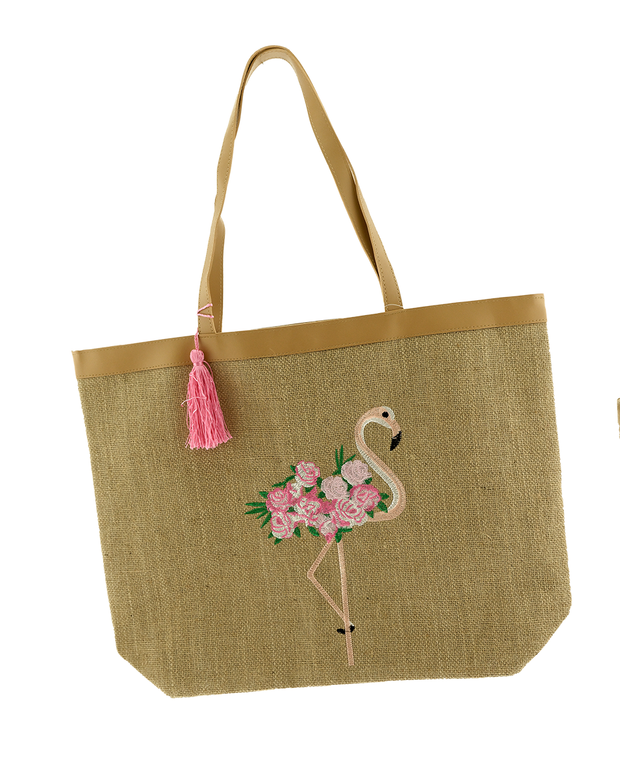 Embroidered Flamingo Tote-Accessories-Cocoplum Boutique