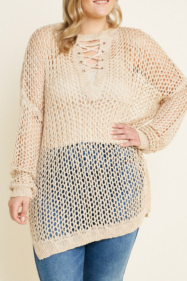 Knit Lace Up Sweater Top-Apparel-Cocoplum Boutique