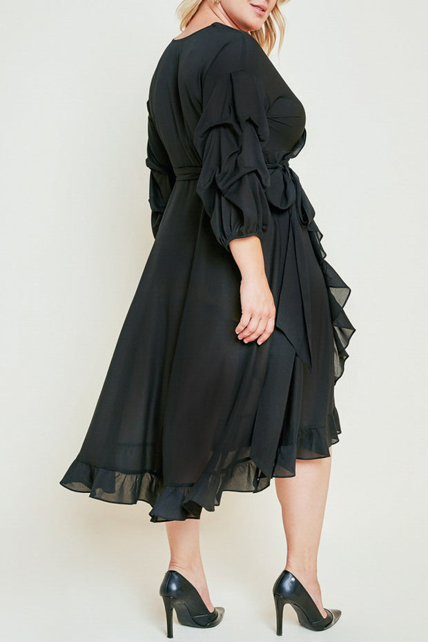 Asymmetrical Ruffle Midi Dress-Apparel-Cocoplum Boutique