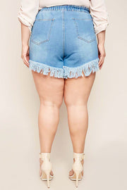 Fringe Hemmed Denim Shorts-Apparel-Cocoplum Boutique