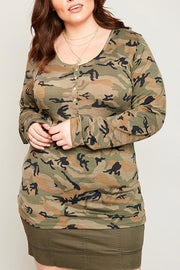 Long Sleeve Camo Print Top-Apparel-Cocoplum Boutique