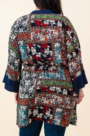 Belted Drawstring Floral Kimono-Apparel-Cocoplum Boutique