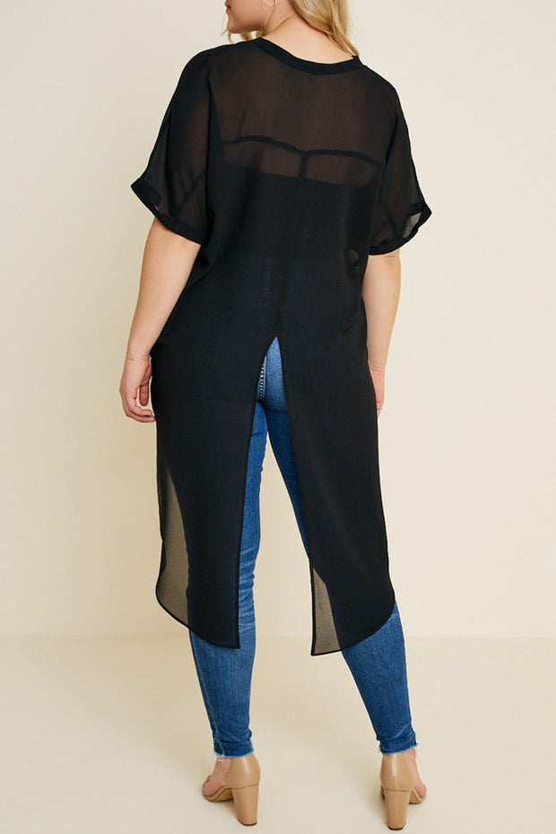 Semi-Sheer High-Low Slit Top-Apparel-Cocoplum Boutique
