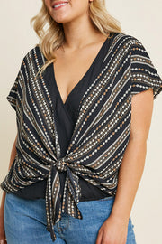 Printed Tie-Front Surplice Top-Apparel-Cocoplum Boutique