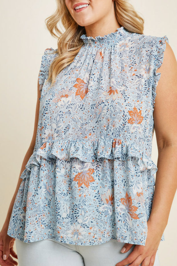 Floral Smock Neck Ruffle Top-Apparel-Cocoplum Boutique
