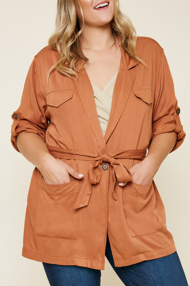 Belted Cargo Jacket-Apparel-Cocoplum Boutique
