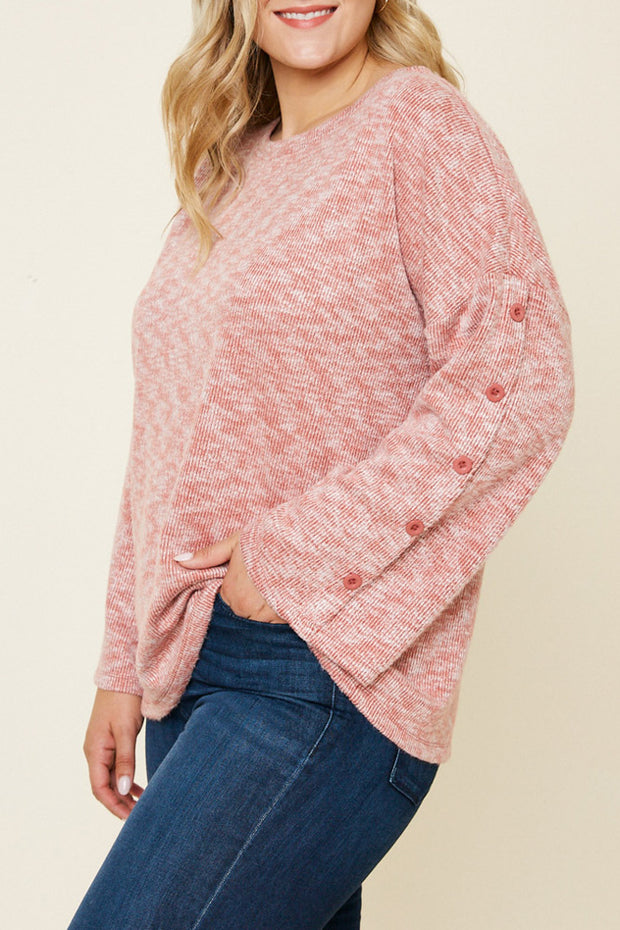 Button Sleeve Brushed Knit Sweater-Apparel-Cocoplum Boutique
