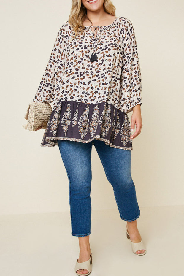 Printed Tassel Tie Tunic Top-Apparel-Cocoplum Boutique