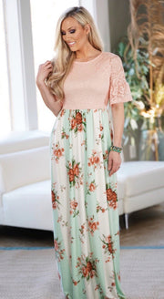 Floral Lace Maxi Dress-Apparel-Cocoplum Boutique