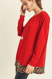 Red Envy Long Sleeve Top-Apparel-Cocoplum Boutique
