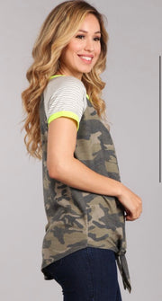 Camo Round Neck Top-Apparel-Cocoplum Boutique
