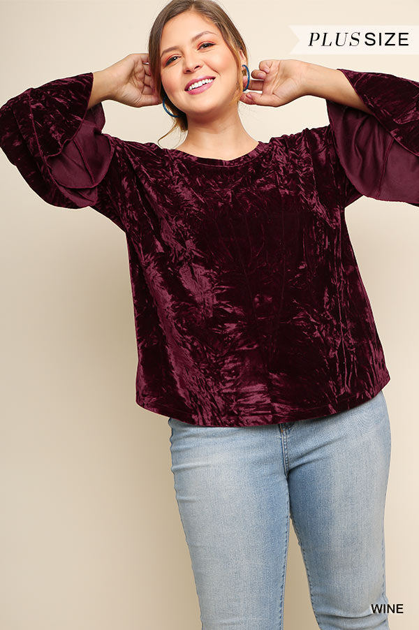 Layered Ruffle Sleeve Velvet Top-Apparel-Cocoplum Boutique