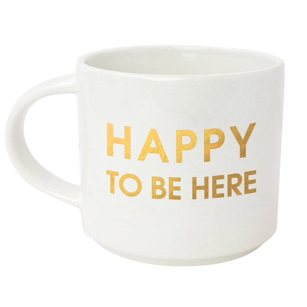 HAPPY TO BE HERE METALLIC GOLD MUG-Gifts-Cocoplum Boutique