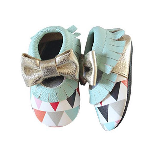 Triangle Print Leather Moccasins-Kids-Cocoplum Boutique
