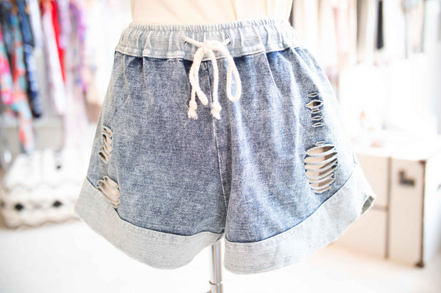 DENIM COTTON SHORT-Apparel-Cocoplum Boutique