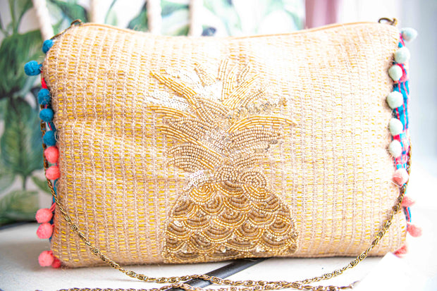 Pineapple Beaded Zip Bag-Accessories-Cocoplum Boutique
