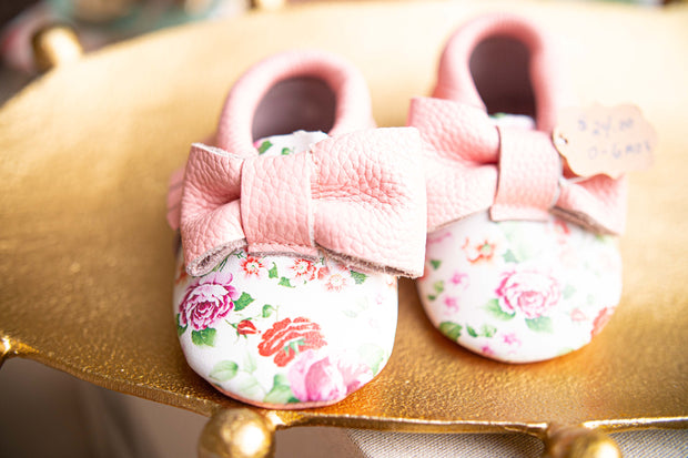 Floral Bow Leather Baby Moccasins-Kids-Cocoplum Boutique