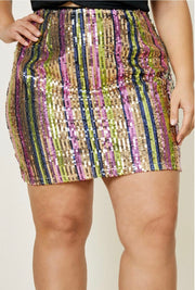 High-Rise Sequin Striped Mini Skirt-Apparel-Cocoplum Boutique