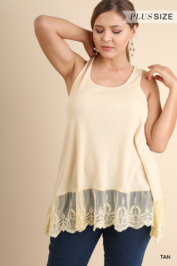 Ribbed Tank Lace Trim-Apparel-Cocoplum Boutique