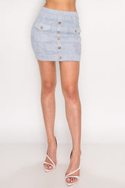 Button Mini Skirt-Apparel-Cocoplum Boutique