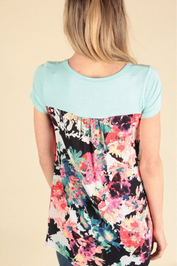 Floral Back Panel Top-Kids-Cocoplum Boutique