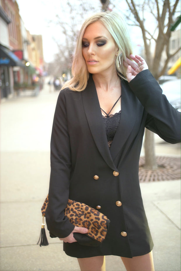 Long Sleeved Short Blazer Dress-Apparel-Cocoplum Boutique